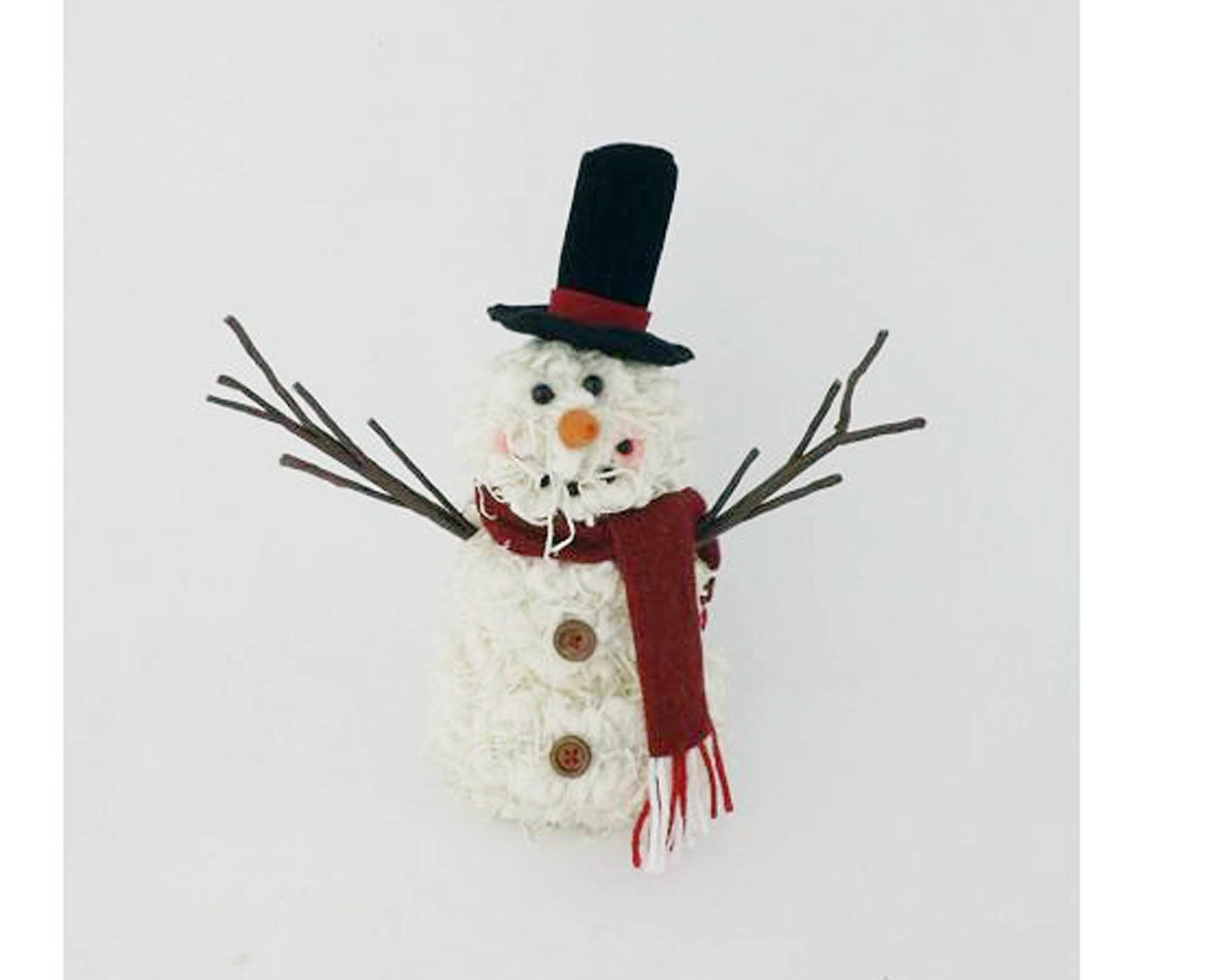 Chenille Fabric Half Body Snowman With Fabric Scarf Hat And Twig Arms Standing 9 5 Tall
