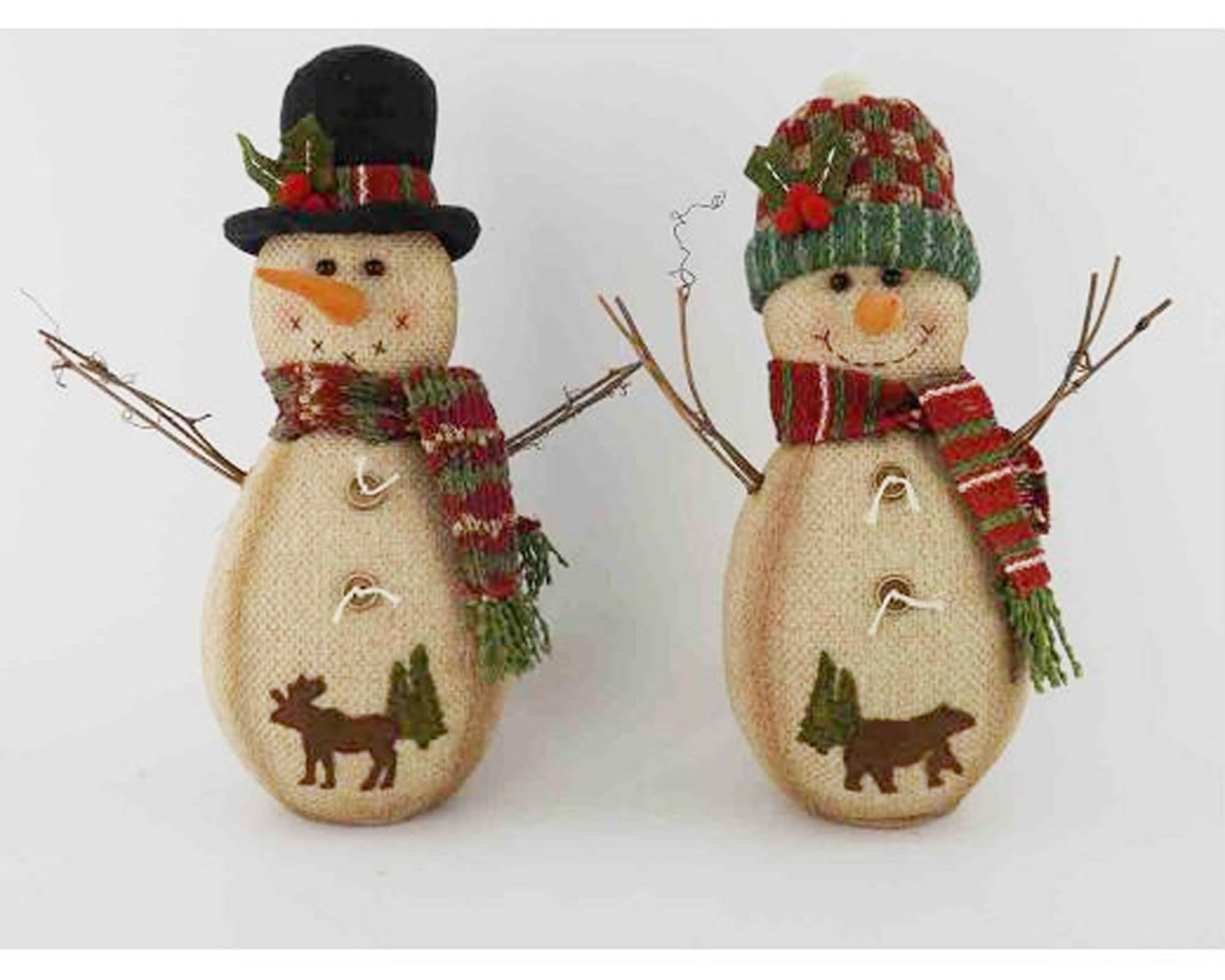 Burlap Half Body Snowman Couple With Twig Arms Fabric Hats Scarfs And Animal Stitchings On Their Bellies Standing Assorted Set Of 2 9 5 Tall