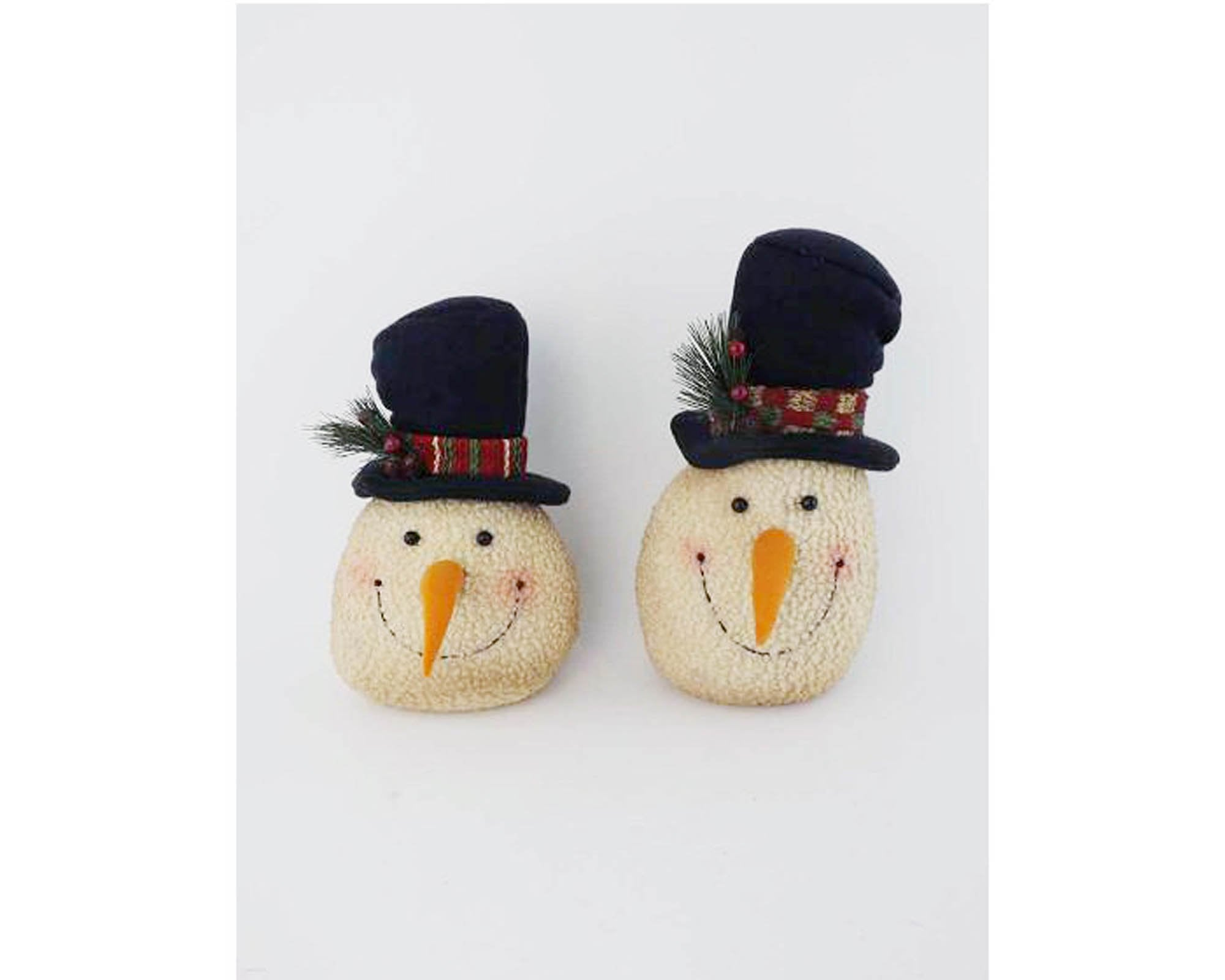 Burlap Fabric Snowman Heads With Top Hats Off White Assorted Set Of 2 10 Tall