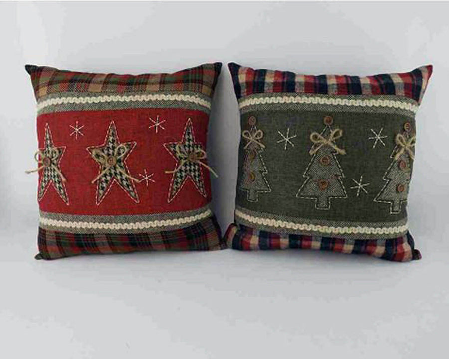 "Birch Maison Decorative Primitive / Farmhouse Fabric Christmas Pillows, Green with Tree and Red with Star, Assorted, Set of 2 - 14"" Tall"