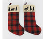 "Birch Maison Decorative Primitive / Farmhouse Fabric Christmas Stockings, Checkered Red with Polar Bear / Deer / Trees on Top, Assorted, Set of 2 - 20"" Tall"