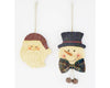"Birch Maison Decorative Primitive / Farmhouse Paper Mache Santa and Snowman Heads with Fabric Bow Tie with Rustic Bells for Snowman, Christmas Ornaments, Assorted, Set of 2 - 4"" Tall"