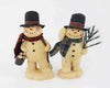 "Birch Maison Decorative Primitive / Farmhouse Paper Mache Snowman Duo on Base with Fabric Scarfs, holding a Pine Tree Branch and a Pail filled with Snowballs, Set of 2, Assorted - 8.5"" Tall"