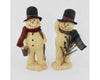 "Birch Maison Decorative Primitive / Farmhouse Paper Mache Snowman Duo on Base with Fabric Scarfs, Pine Tree Branch and a Bucket filled with Snowballs, Assorted, Set of 2 - 8.5"" Tall"