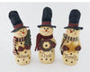 "Birch Maison Decorative Primitive / Farmhouse Paper Mache Snowman Trio ""Believe - Love - Family"" on Base, with Fabric Scarfs, holding a Pine Tree Branch, a Wreath and a Star, Assorted -11"" Tall"