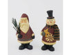 "Birch Maison Decorative Primitive / Farmhouse Paper Mache Santa and Snowman with Fabric Scarf, holding a Pine Tree Branch and a Star, Assorted, Set of 2 - 9.75"" Tall"