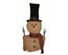 "Birch Maison Decorative Primitive / Farmhouse Standing Chenille Snowman with Fabric Scarf, Top Hat and Twig Arms - 24"" Tall"