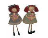 "Birch Maison Decorative Primitive / Farmhouse Fabric Annie Dolls with Red Woolen Hair, Green / Blue Plaid Dresses with Baby Raggedy Dolls, Assorted, Set of 2 - 17"" Tall"