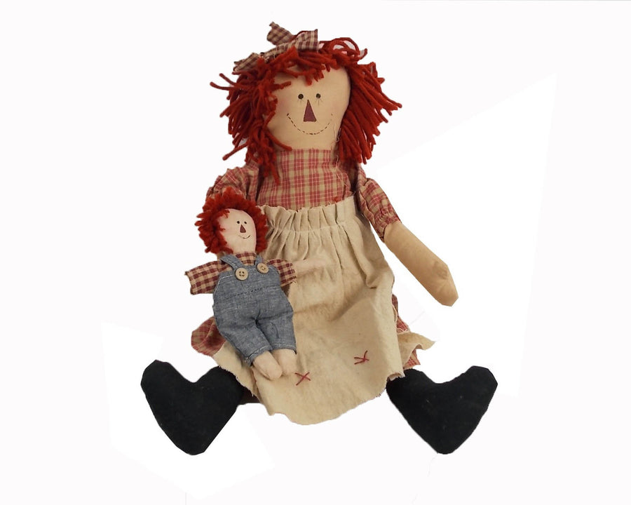 "Birch Maison Decorative Primitive / Farmhouse Fabric Raggedy Ann Doll with Red Woolen Hair, wearing a Plaid Dress, Holding a Small Raggedy Andy Dolls - 18"" Tall"
