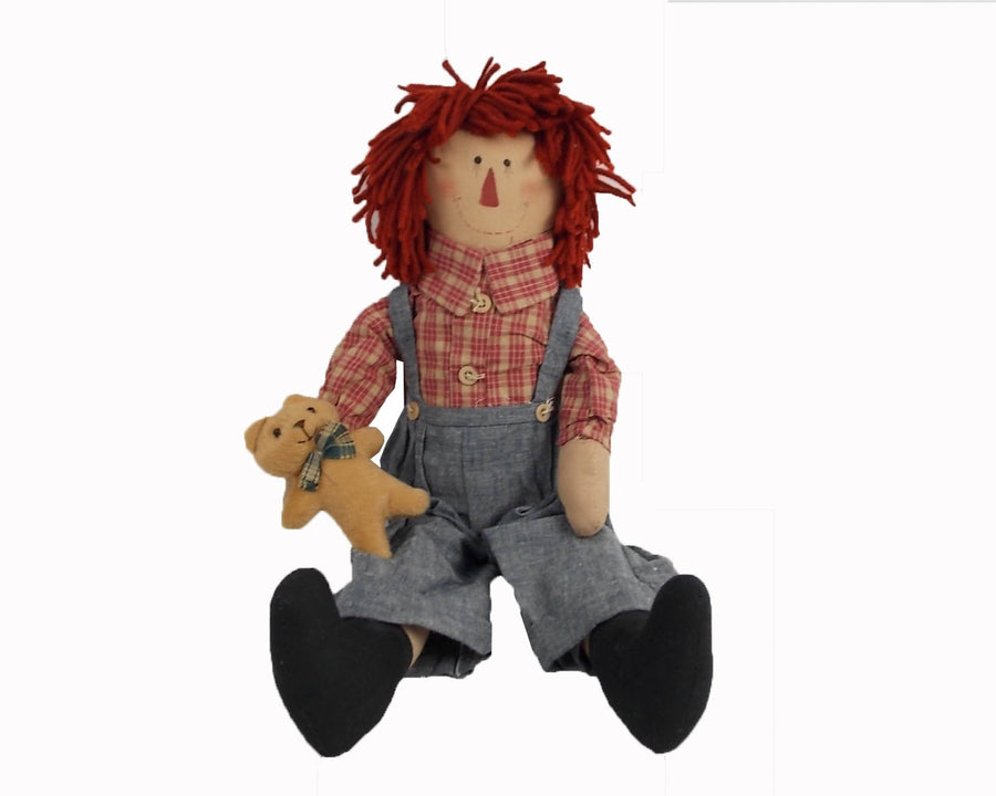 "Birch Maison Decorative Primitive / Farmhouse Fabric Raggedy Andy Doll with Red Woolen Hair, Plaid Shirt and Blue Overall, Holding a Small Teddy Bear - 18"" Tall"