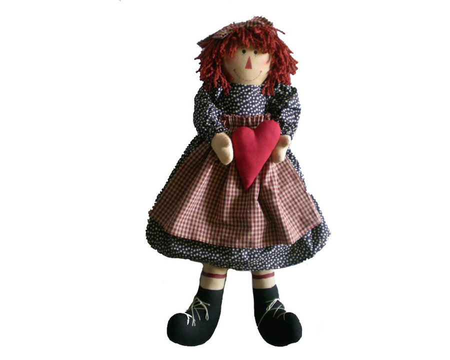 "Birch Maison Decorative Primitive / Farmhouse Fabric Raggedy Ann Doll with Red Woolen Hair, wearing a Plaid Dress with Apron, Holding a Red Fabric Heart - 24"" Tall"