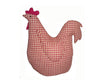 "Birch Maison Decorative Primitive / Farmhouse Fabric Red - White Checkered Rooster Figurine - 10"" Tall"