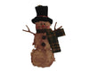 "Birch Maison Decorative Primitive / Farmhouse Chenille Snowman  with Fabric Top Hat and Scarf and Twig Arms, Christmas Ornament - 7"" Tall"
