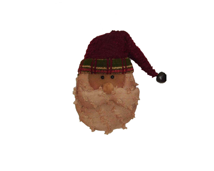 "Birch Maison Decorative Primitive / Farmhouse Chenille Santa Head with Beanie and Tin Bell,  Christmas Ornament - 7"" Tall"