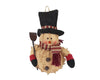 "Birch Maison Decorative Primitive / Farmhouse Half-Body Chenille Snowman with Fabric Top Hat and Scarf and Shovel - 8"" Tall"