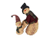 "Birch Maison Decorative Primitive / Farmhouse Half-Body Chenille Father & Son Snowman with Fabric Top Hat, Beanie, Scarfs and Coat - 13"" Tall"