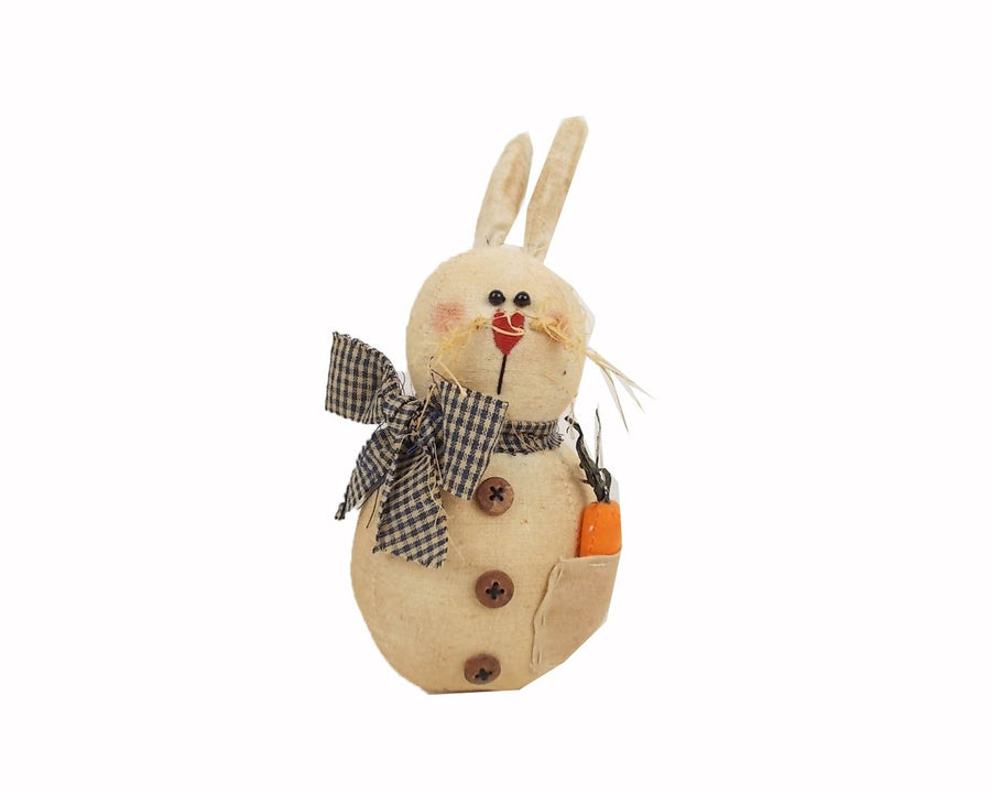 "Birch Maison Decorative Primitive / Farmhouse Fabric Bunny ""Matilda"", with Fabric Scarf and Carrot in her Pocket, Standing - 5"" Tall"
