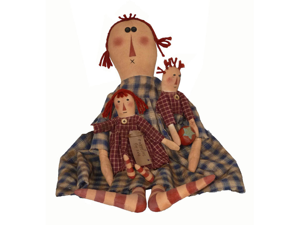 "Birch Maison Decorative Primitive / Farmhouse Sitting Fabric Raggedy Doll, Holding 2 small Raggedy Dolls with Checkered Outfits and Striped Stockings - 24"" Tall"