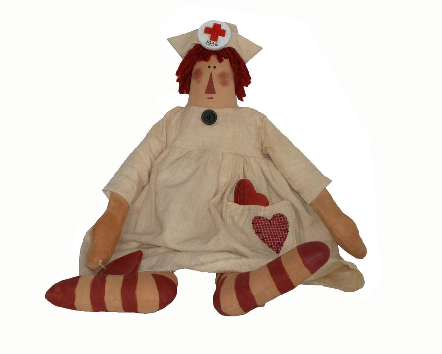 "Birch Maison Decorative Primitive / Farmhouse Fabric Raggedy Doll ""Nurse Nightingale"" with Hooped Stockings and Heart Embroideries, Sitting - 16"" Tall (Standing)"