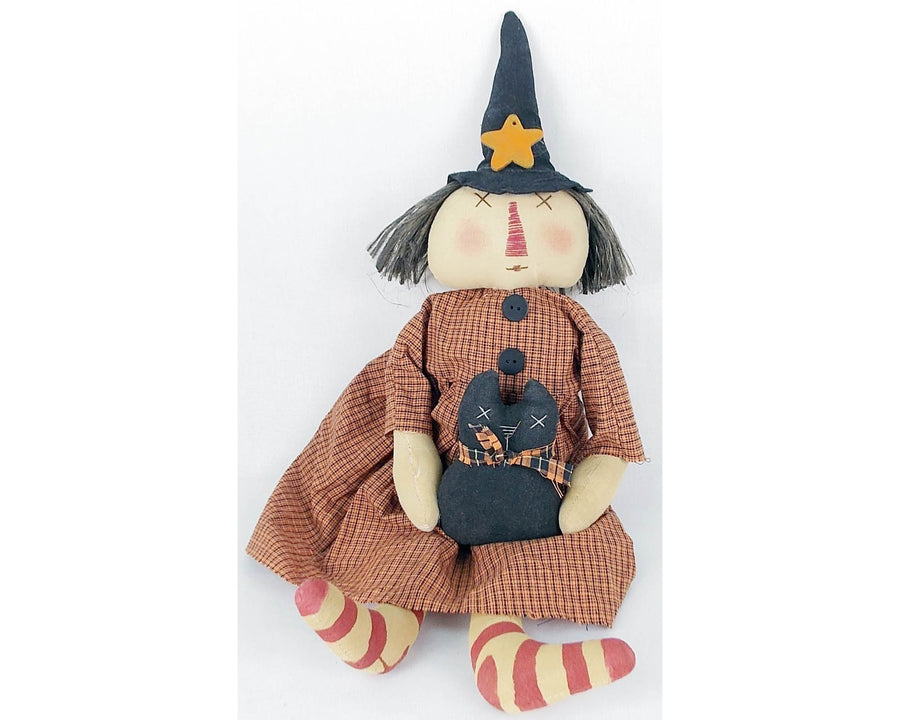 "Birch Maison Decorative Primitive / Farmhouse Fabric Raggedy Witch and Black Cat ""Lily & Licorice"" - 22"" Tall"