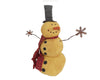 "Birch Maison Decorative Primitive / Farmhouse Standing Fabric Snowmen ""Gilbert"", with Tin Arms and Snowflake Hands, Long Red Fabric Scarf and Black Top Hat - 16"" Tall"