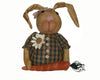 "Birch Maison Decorative Primitive / Farmhouse  Half-Body Fabric Bunny ""Daisy Dugmore"", with Plaid Shirt, Daisy that reads "" Happy Spring"" and a Carrot in her Paws - 12"" Tall"