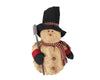 "Birch Maison Decorative Primitive / Farmhouse Puffy Chenille Snowman with Fabric Scarf, Mittens and Large Top Hat and Rusty Tin Shovel, Standing - 18"" Tall"