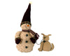 "Birch Maison Decorative Primitive / Farmhouse Standing Puffy Chenille Snowman with Fabric Scarf, Mittens and Pointy Hat, taking his Puppy for a Walk - 12"" Tall"