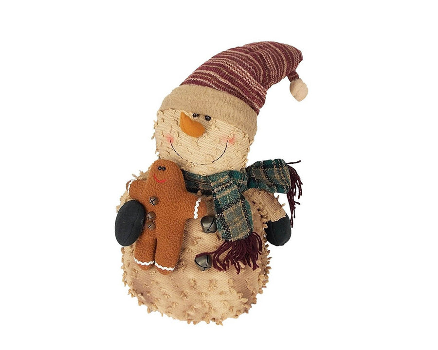 "Birch Maison Decorative Primitive / Farmhouse Standing Puffy Chenille Snowman with Fabric Scarf, Mittens and Pointed Hat, holding a Gingerbread Man in his Arms - 12"" Tall"