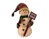 "Birch Maison Decorative Primitive / Farmhouse Standing  Chenille Snowman with Fabric Scarf, Mittens and Long Pointed Hat, holding a Rusty Tin Shovel in his Hand - 18"" Tall"