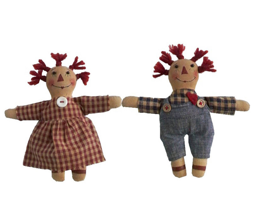 "Birch Maison Decorative Primitive / Farmhouse Fabric Raggedy Ann and Andy Doll Ornaments, with Plaid Dress and Shirt, Assorted, Set of 2 - 7.5"" Tall"