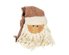 "Birch Maison Decorative Primitive / Farmhouse Fabric Santa Head with a Plaid Pointed Hat with Rusty Tin Bell on Tip and a Long Stringy White Beard - 14"" Tall"