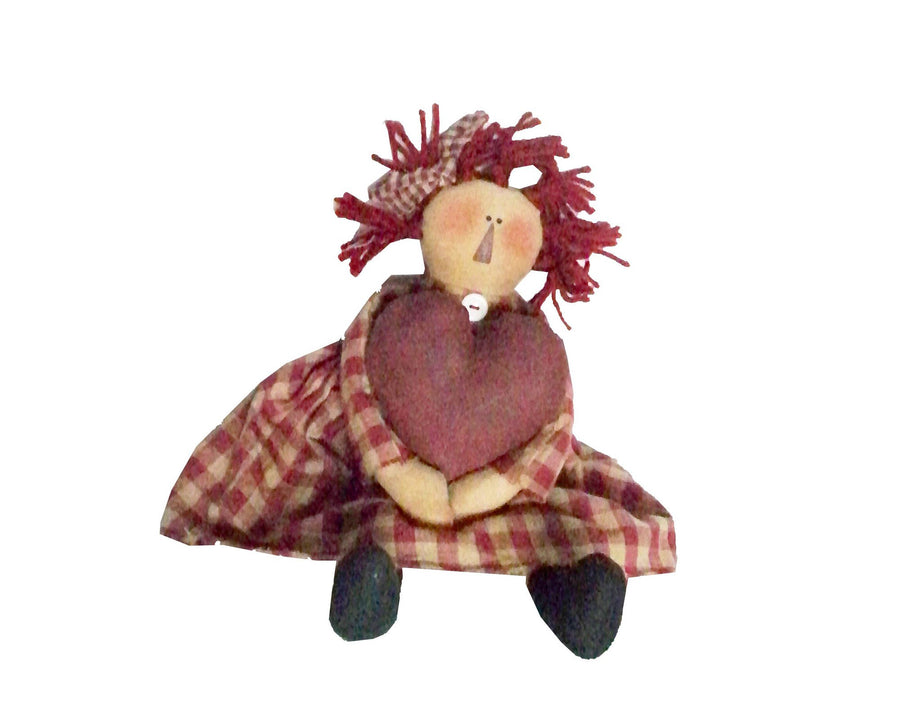 "Birch Maison Decorative Primitive / Farmhouse Sitting Fabric Ann Doll with Plaid Dress, holding a Big Red Heart in her Hands - 14"" Tall (Standing)"