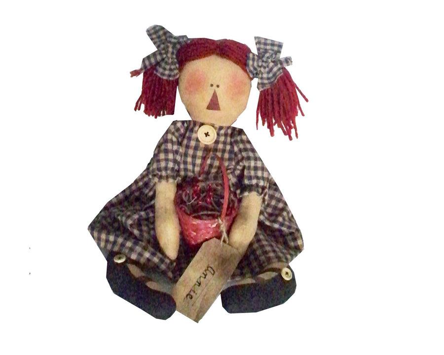 "Birch Maison Decorative Primitive / Farmhouse Sitting Fabric Raggedy Ann Doll with a Plaid Dress and Bows in her Yarn Hair, holding a Red Basket with Tag on that reads ""Annie"" - 16"" Tall (Standing)"