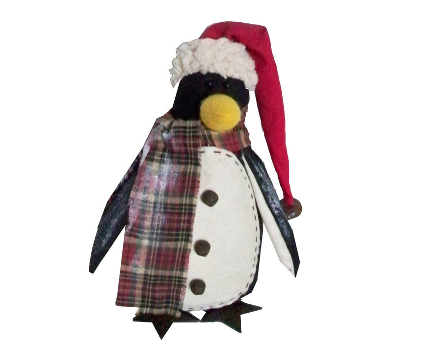 "Birch Maison Decorative Primitive / Farmhouse Fabric Penguin Figurine with a Long Plaid Fabric Scarf, Pointed Red Hat with a White Trim and Cute Buttons on his Belly - 7"" Tall"