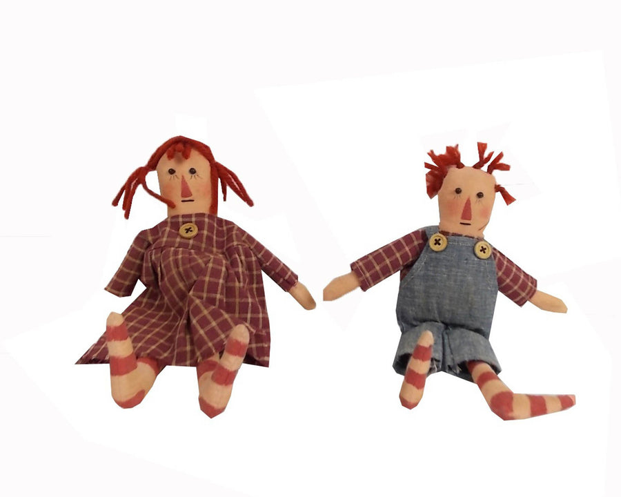 "Birch Maison Decorative Primitive / Farmhouse Fabric Raggedy Ann and Andy Couple - 9"" Tall"