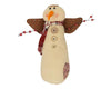 "Birch Maison Decorative Primitive / Farmhouse Standing Fabric Snow-Berry-Angel with a Long Fabric Scarf, Wings and Pip Berry-Tin Arms - 14"" Tall"
