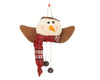 "Birch Maison Decorative Primitive / Farmhouse Fabric Snowman-Angel Head Christmas Ornaments with Long Fabric Scarf and Two Rusty Tin Bells on Strings - 5.5"" Tall"