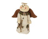 "Birch Maison Decorative Primitive / Farmhouse Standing Fabric Snowangel with a Cute Fabric Gown, Halo and a Wicker Star in his Hand - 13"" Tall"