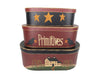 "Birch Maison Decorative Primitive / Farmhouse Oval Nesting Boxes ""Stars -Primitives - Farmhouse"", Stackable, Set of 3 - 8.5"" H, 6.5"" H, 4.5"" H"