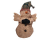 "Birch Maison Decorative Primitive / Farmhouse Standing Chenille Snowman with Plaid Fabric Pointed Hat with a Rusty Tin Bell and Bells on his Belly - 11"" Tall"