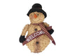 "Birch Maison Decorative Primitive / Farmhouse Standing Puffy Chenille Snowman with Fabric Scarf and Top Hat, holding a ""Welcome""-Sign - 15"" Tall"