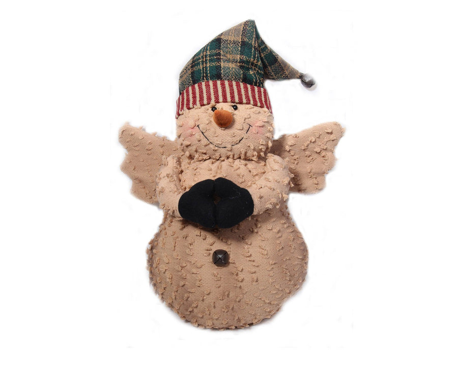 "Birch Maison Decorative Primitive / Farmhouse Standing Puffy Chenille Snowman-Angel with Fabric Wings and Pointed Hat with Rusty Bell on the Tip - 15"" Tall"