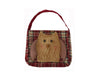 "Birch Maison Decorative Primitive / Farmhouse Checkered Fabric Bag with Chenille Owl Face on Front - 16""Long, 13"" Tall"