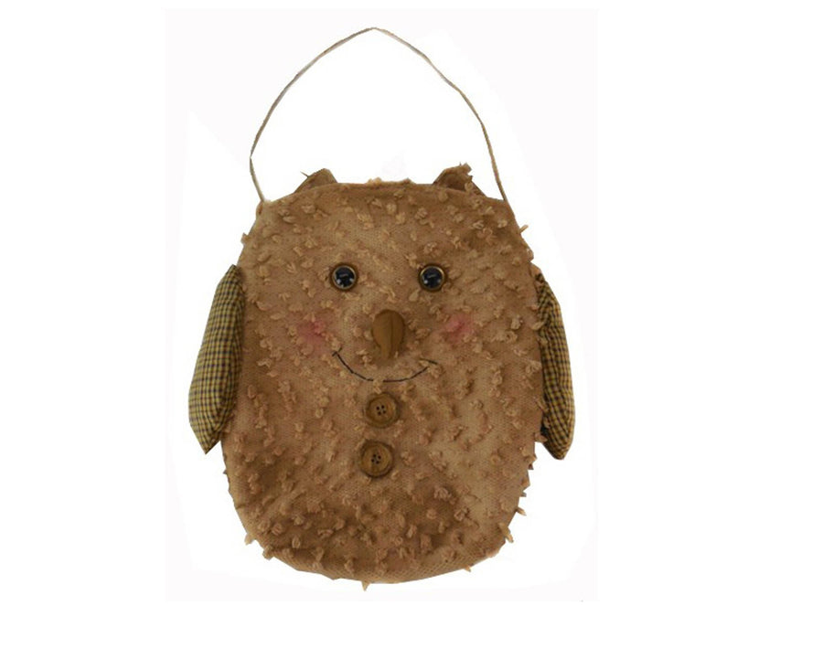 "Birch Maison Decorative Primitive / Farmhouse Hand-knitted Chenille Fabric Owl with Hanger - 13"" Tall"