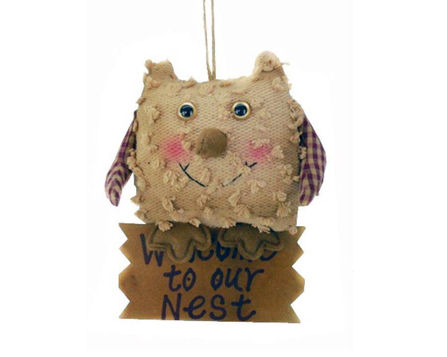 "Birch Maison Decorative Primitive / Farmhouse Chenille Owl with Checkered Fabric Wings, Sitting on Wooden Sign that reads ""Welcome To Our Nest"", Hanging - 7.5"" Tall"