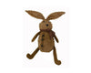 "Birch Maison Decorative Primitive / Farmhouse Sitting Chenille Bunny with Checkered Fabric Scarf and 3 Rusty Tin Bell Buttons on his Belly - 12"" Tall (Standing)"