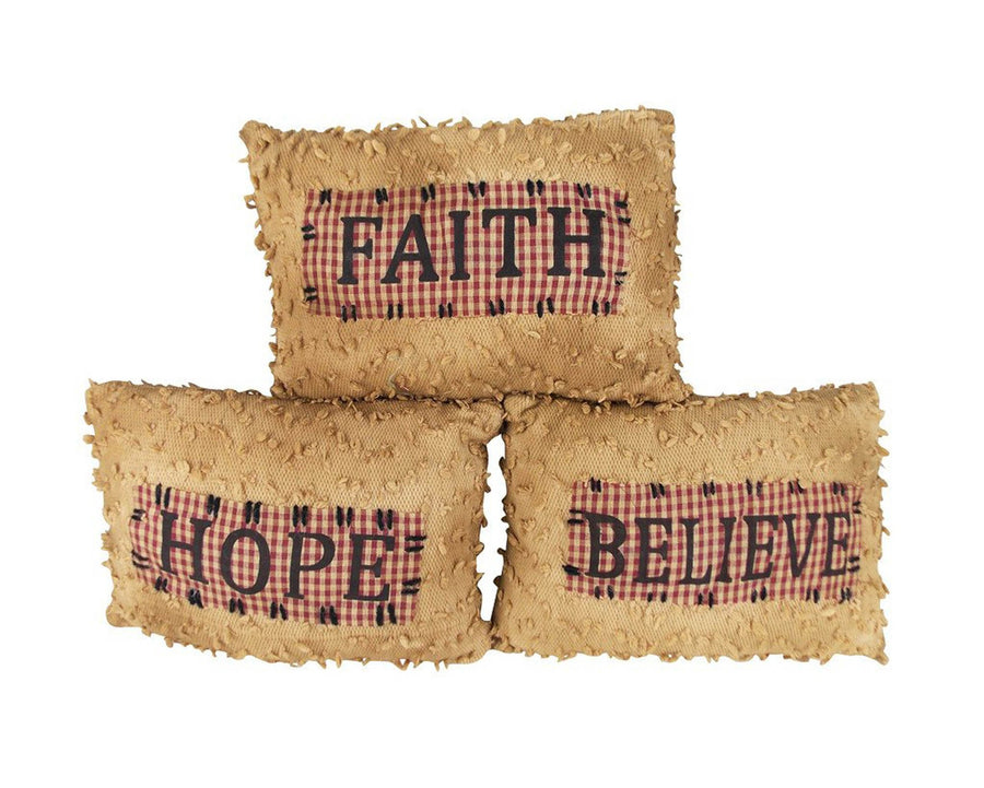 "Birch Maison Decorative Primitive / Farmhouse Fabric Décor Pillows ""Faith - Hope - Believe"", Assorted, Set of 3 - 8"" Tall"