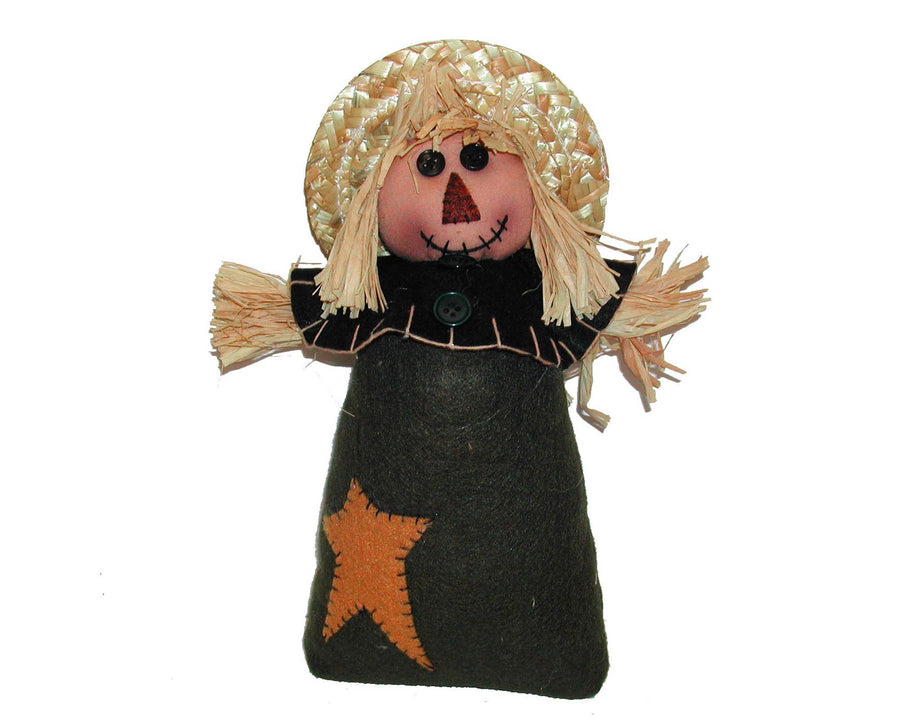"Birch Maison Decorative Primitive / Farmhouse Standing Fabric Scarecrow With Real Straw Hat and Hands, a Fabric Dress with a Star Patch - 11"" Tall"
