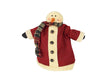 "Birch Maison Decorative Primitive / Farmhouse Standing Fabric Santa Snowman with Long Red Fabric Coat and Scarf and Rusty Tin Bells as Buttons - 11"" Tall"